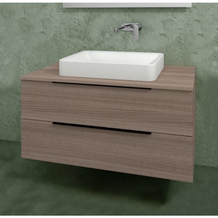 Flaminia BOX base portalavabo sospesa, 2 cassetti, L.105 P.50 H.50 cm, con top e foro per lavabo da appoggio, finitura oj canapa BX839+BXPR51OJC