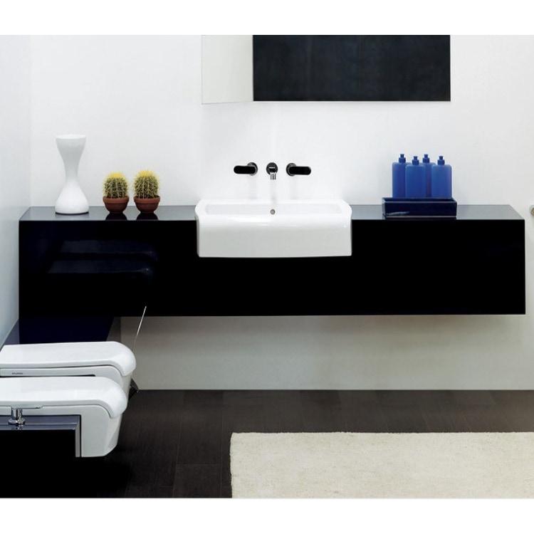 Flaminia UNA mobile L.200 P.45 H.40 cm per lavabo Una 90 (UNA90L), in pietraluce, colore nero finitura lucido UNA90C2NE