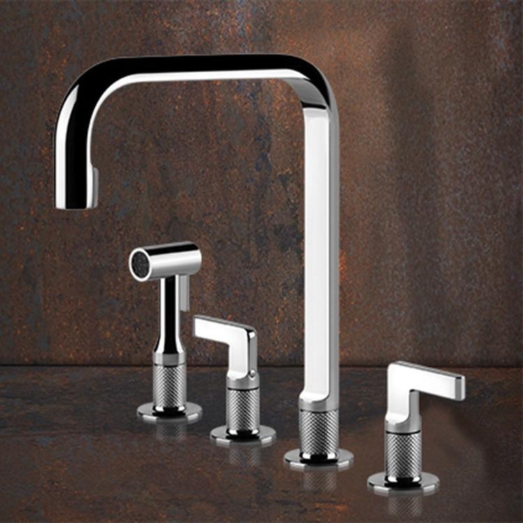 Gessi INCISO rubinetto tre fori con canna girevole con doccetta estraibile mono getto finitura black metal brushed PVD 58703#707