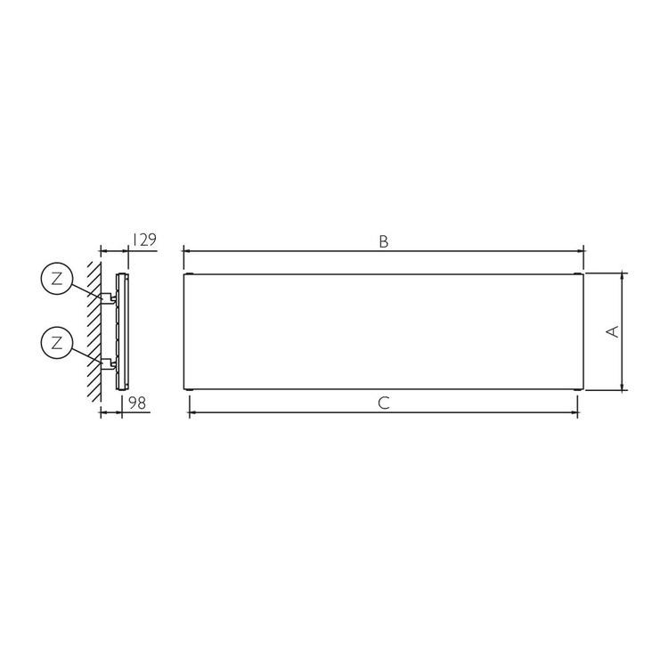 Deltacalor PLATE ORIZZONTALE DOPPIO radiatore inox spazzolato h 676 x l 1800 mm PL2H180067Y