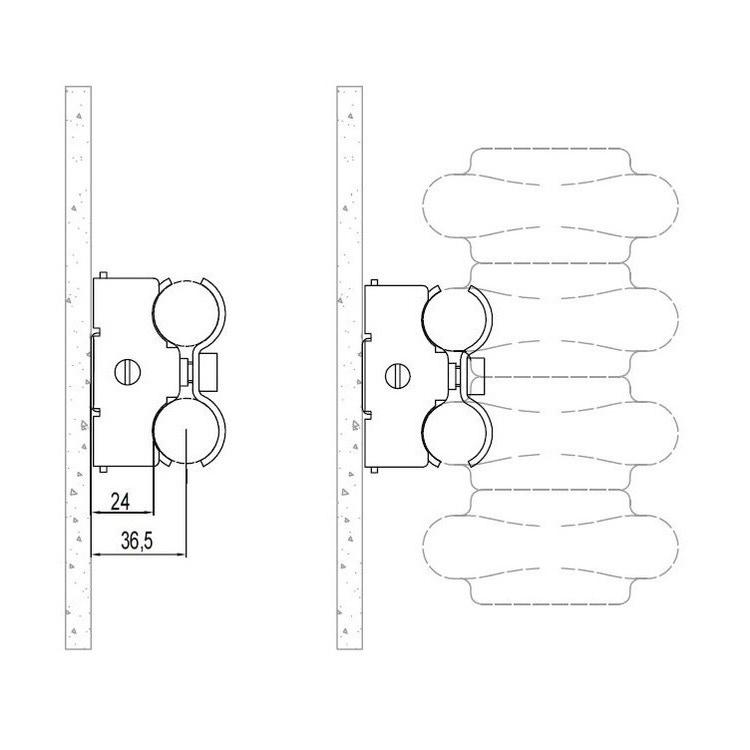 Irsap Coppie di mensole universali a scomparsa per TESI da 2 a 6 colonne da 30 a 250 cm, complete di viti e tasselli, colore nero finitura opaco Cod.K1 AMENSRTK1