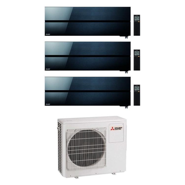 Mitsubishi MSZ-LN Kirigamine Style R32 Climatizzatore a parete trial split inverter Wi-Fi nero | unità esterna 6.8 kW unità interne 9000+9000+18000 BTU MXZ-3F68VF+MSZ-LN[25|25|50]VGB