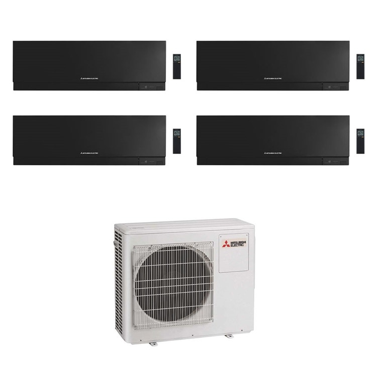 Mitsubishi MSZ-EF Kirigamine Zen R32 Climatizzatore a parete quadri split inverter Wi-Fi nero | unità esterna 8 kW unità interne 7000+9000+9000+18000 BTU MXZ-4F80VF2+MSZ-EF[22|25|25|50]VGKB