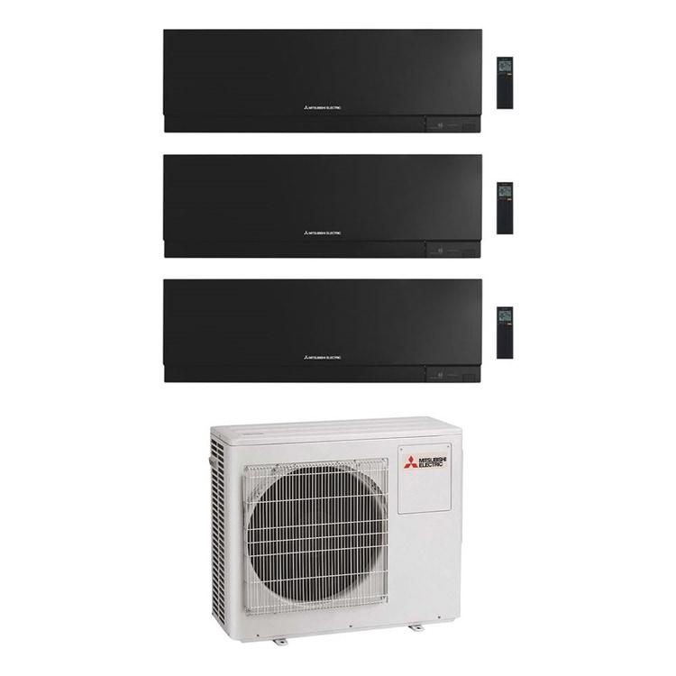 Mitsubishi MSZ-EF Kirigamine Zen R32 Climatizzatore a parete trial split inverter Wi-Fi nero | unità esterna 6.8 kW unità interne 7000+12000+12000 BTU MXZ-3F68VF+MSZ-EF[22|35|35]VGKB