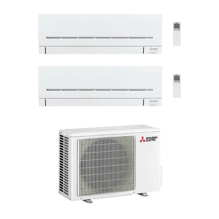 Mitsubishi MSZ-AP R32 Climatizzatore a parete dual split inverter Wi-Fi bianco | unità esterna 5.3 kW unità interne 5000+5000 BTU MXZ-2F53VF+MSZ-AP[15|15]VG