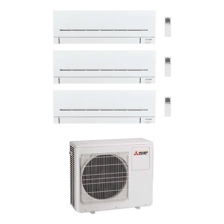Mitsubishi MSZ-AP R32 Climatizzatore a parete trial split inverter Wi-Fi bianco | unità esterna 6.8 kW unità interne 5000+5000+5000 BTU MXZ-3F68VF+MSZ-AP[15|15|15]VG