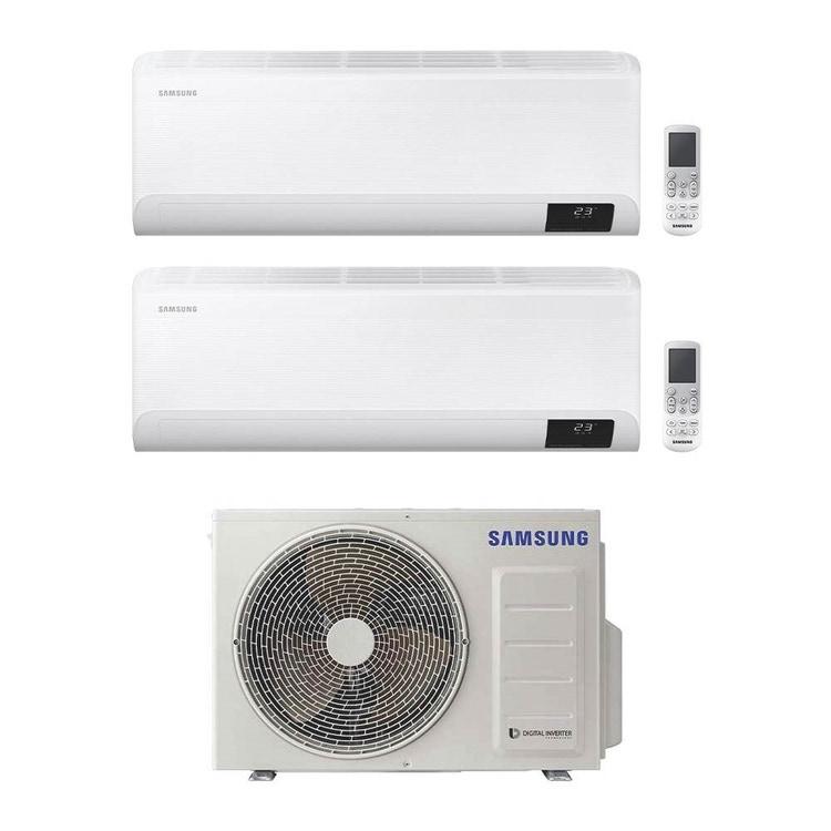 Samsung CEBU Wi-Fi R32 Climatizzatore a parete dual split inverter Wi-Fi bianco | unità esterna 5 kW unità interne 12000+18000 BTU AJ050TXJ2KG/EU+AR[35|50]TXFYAWKNEU