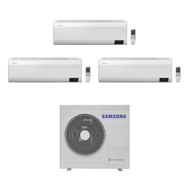 Samsung WINDFREE AVANT R32 Climatizzatore a parete trial split inverter Wi-Fi bianco   unità esterna 6.8 kW unità interne 7000+7000+7000 BTU AJ068TXJ3KG/EU+AR[20 20 20]TXEAAWKNEU