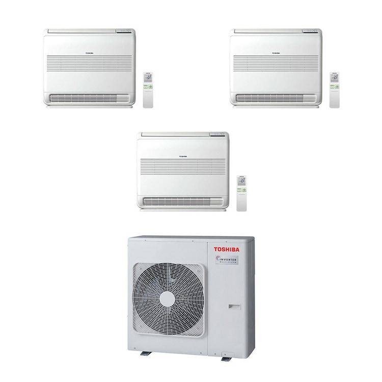 Toshiba Console R32 Climatizzatore a pavimento trial split inverter bianco | unità esterna 7.5 kW unità interne 9000+12000+18000 BTU RAS-3M26U2AVG-E+RAS-B[25|35|50]J2FVG-E
