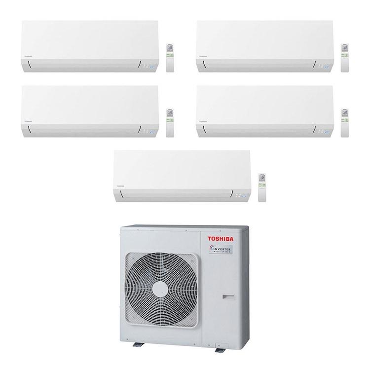 Toshiba SHORAI EDGE R32 Climatizzatore a parete penta split inverter Wi-Fi bianco | unità esterna 10 kW unità interne 5000+9000+9000+16000+16000 BTU RAS-5M34U2AVG-E+RAS-B[25|25|46|46]N4KVSG-E+RAS-M18