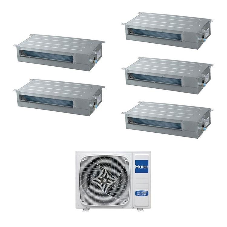 Haier CANALIZZATO SLIM Bassa pressione R32 Climatizzatore penta split inverter | unità esterna 9 kW unità interne 9000+9000+9000+9000+9000 BTU 5U90S2SS2FA+AD[25|25|25|25|25]S2SS1FA