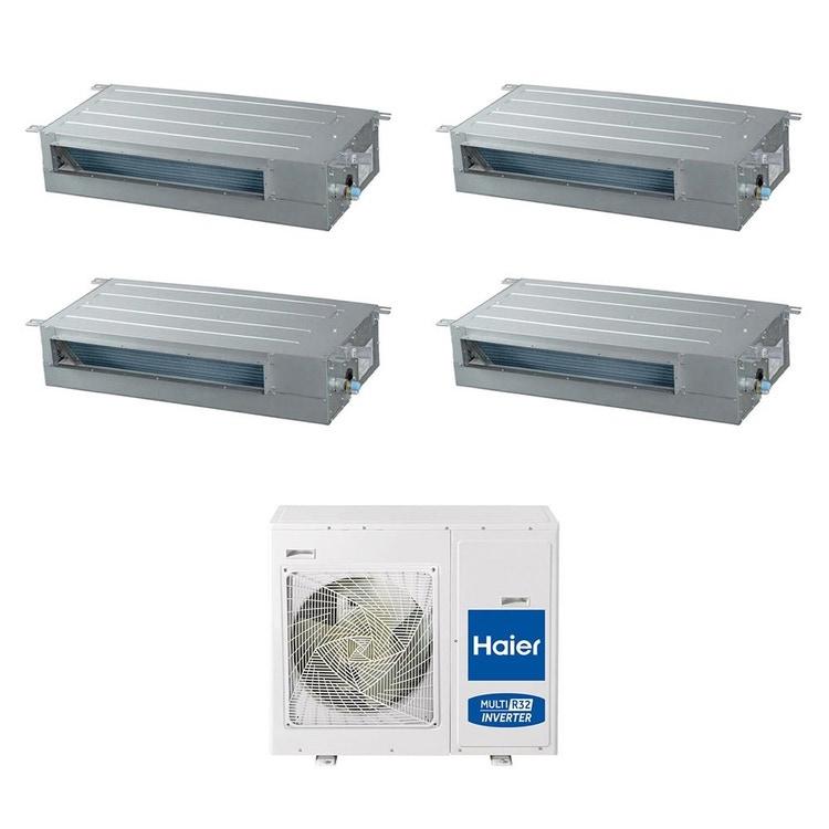 Haier CANALIZZATO SLIM Bassa pressione R32 Climatizzatore quadri split inverter | unità esterna 8.5 kW unità interne 9000+9000+9000+12000 BTU 4U85S2SR2FA+AD[25|25|25|35]S2SS1FA
