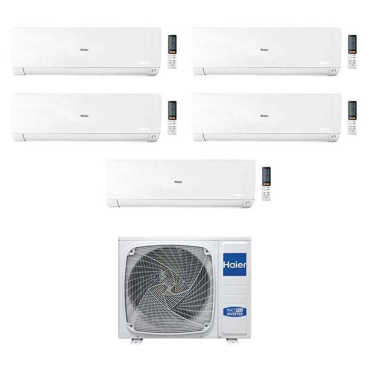 Haier FLEXIS R32 Climatizzatore a parete penta split inverter Wi-Fi bianco | unità esterna 9 kW unità interne 7000+9000+9000+9000+12000 BTU 5U90S2SS2FA+AS[20|25|25|25|35]S2SF1FA-MW