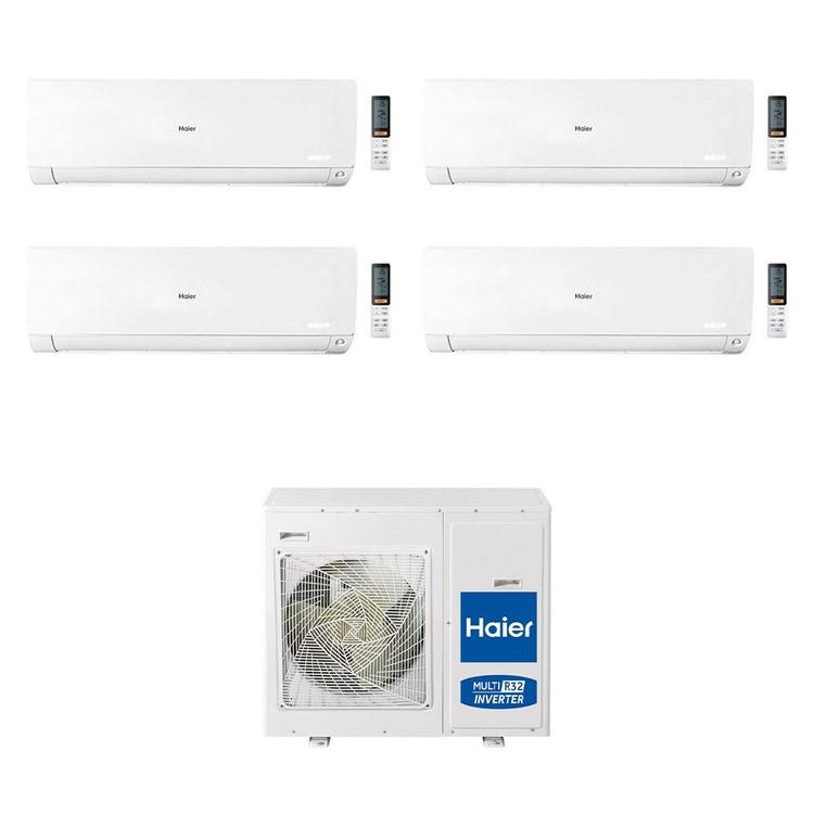 Haier FLEXIS R32 Climatizzatore a parete quadri split inverter Wi-Fi bianco | unità esterna 8.5 kW unità interne 9000+9000+12000+12000 BTU 4U85S2SR2FA+AS[25|25|35|35]S2SF1FA-MW