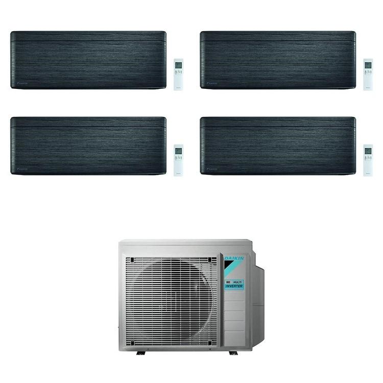 Daikin STYLISH R32 Climatizzatore a parete quadri split inverter Wi-Fi blackwood | unità esterna 7.4 kW unità interne 5000+7000+9000+18000 BTU 4MXM80N+CTXA[15]BT+FTXA[20|25|50]BT