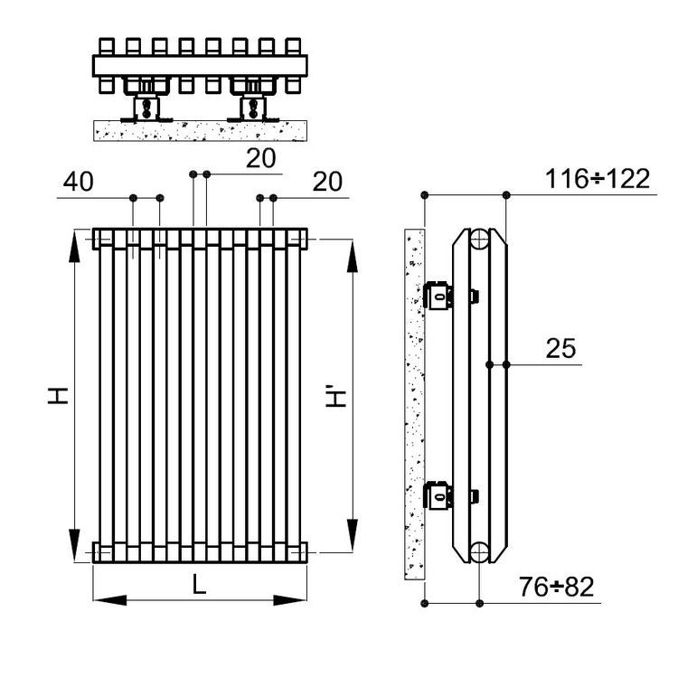 Irsap SAX2 radiatore verticale 8 elementi H.83 L.32 P.8 cm, colore bianco finitura lucido SX208300801IR01A01