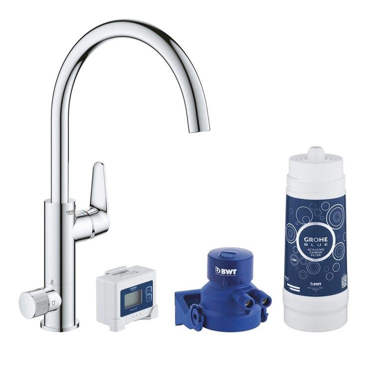 Grohe BLUE PURE BAUCURVE miscelatore monocomando per lavello con sistema filtrante dell'acqua finitura cromo lucido 30385000