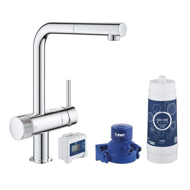 Grohe BLUE PURE MINTA miscelatore monocomando per lavello con sistema filtrante dell'acqua finitura cromo lucido 30382000