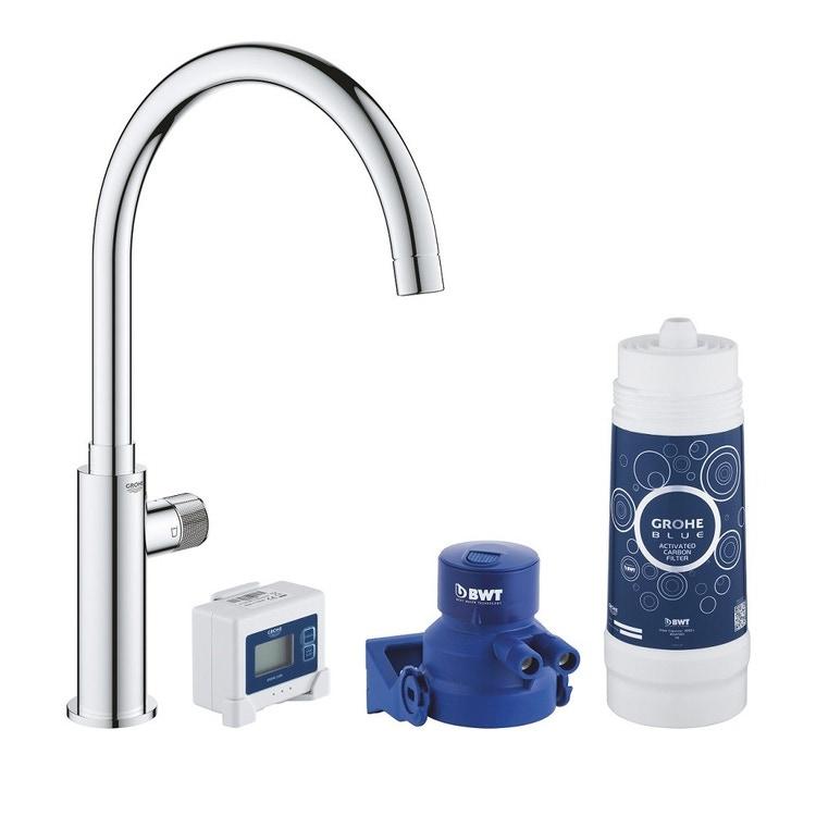 Grohe BLUE PURE MONO miscelatore monocomando per lavello con sistema filtrante dell'acqua finitura cromo lucido 30387000
