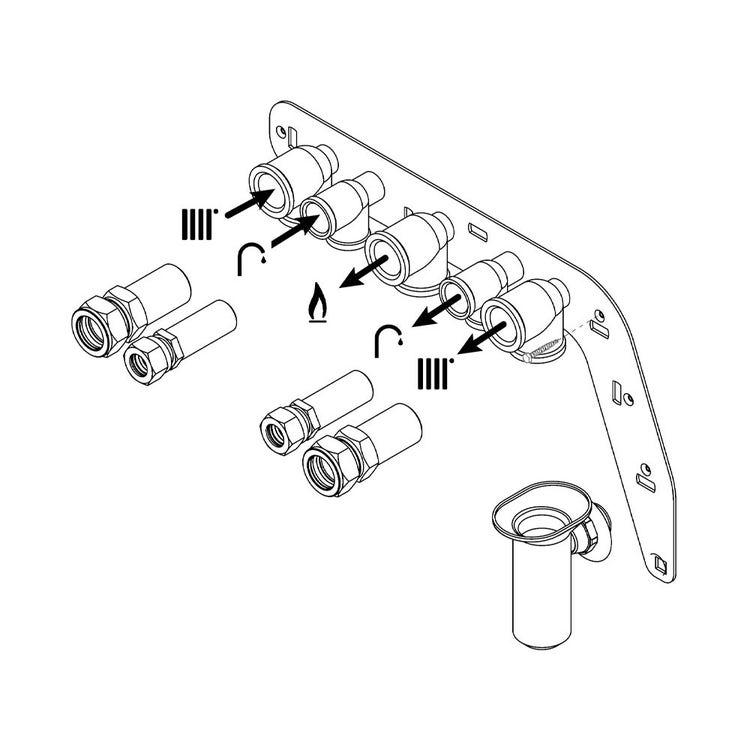 Vaillant Predisposizione per attacchi idraulici a muro in linea con dima Vaillant 0020201896