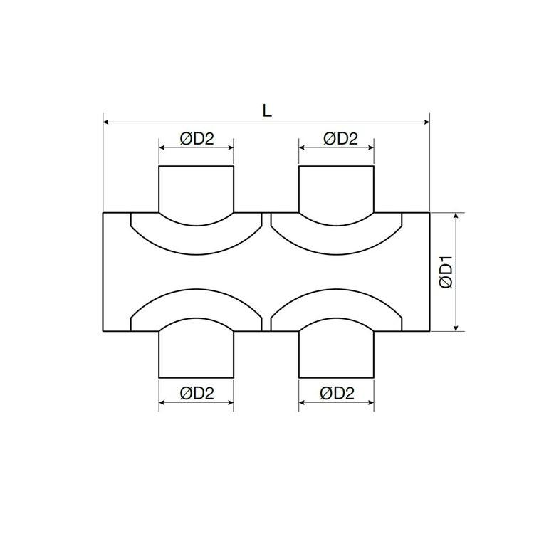 Irsap COMPO Plenum di ripartizione aria componibile in acciaio zincato, attacco principale DN160 + 4 attacchi secondari DN80 A00PLE0408160C0