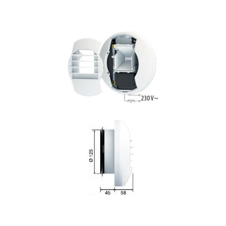 Irsap BEH EL 12/45/105 Bocchetta di estrazione igroregolabile elettrica per controllo delle portate di estrazione in funzione dell'umidità o dell'inquinamento dell'aria TPLBOC0105IE0