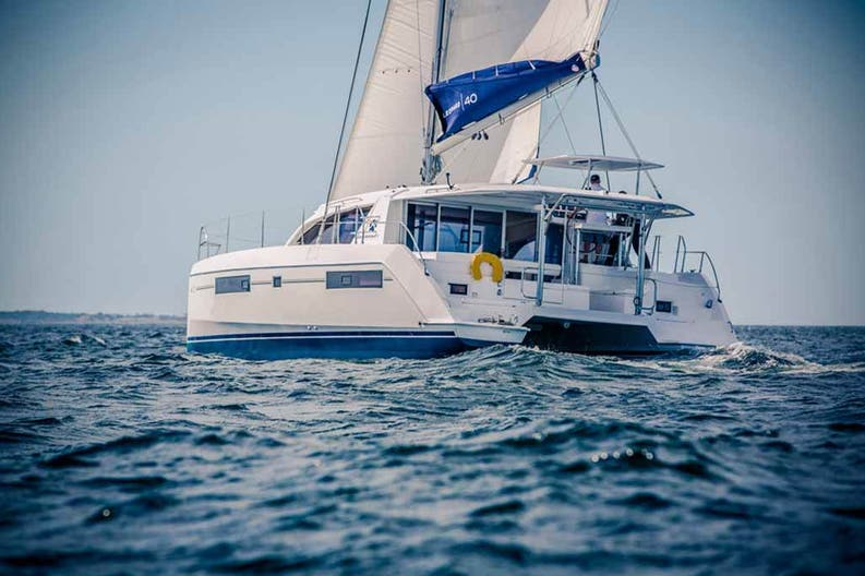 View of a sailing boat Leopard 40