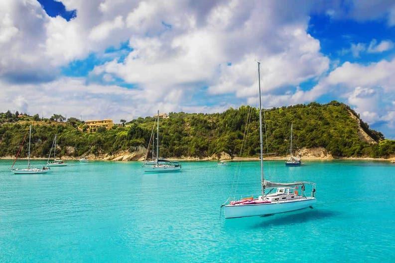 Sailboat in Lakka Bay of Paxos in Greece