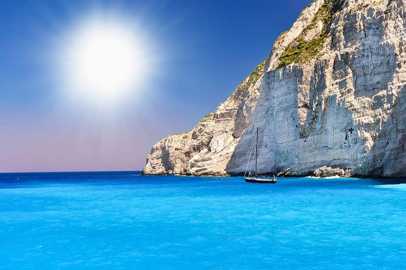 View of the crystalclear sea of Zante in Greece