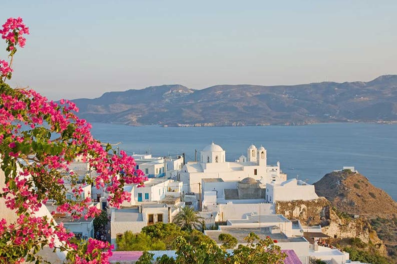 View of the sea and the town of Milos in Greece