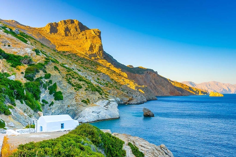 Glimpse of the village of Amorgos in Greece