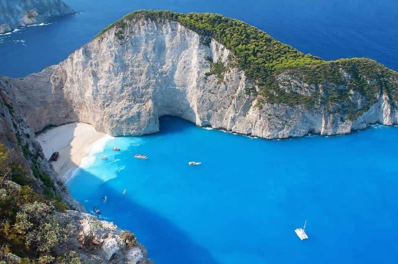Coast of the island of Zakynthos in Greece