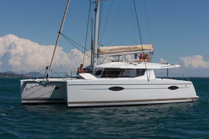 Sailing boat Hélia 44 on the sea