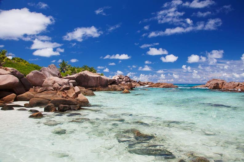 Crystal clear waters of La Digue, Seychelles