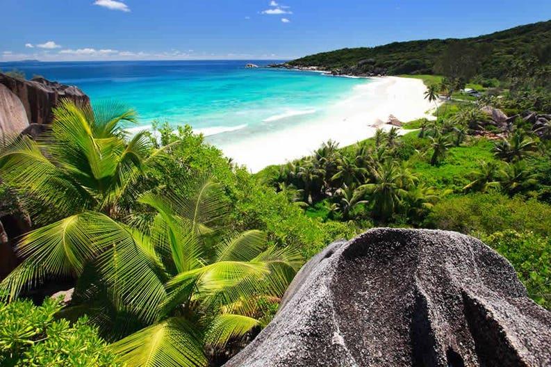 La Digue island at the Seychelles