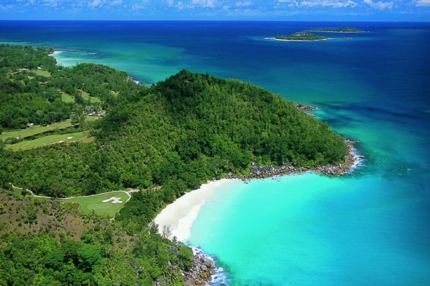 The coast of Praslin Island, Seychelles